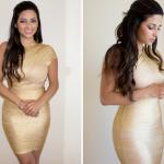 Style Me Celeb Amy Childs Gold Bandage Dress