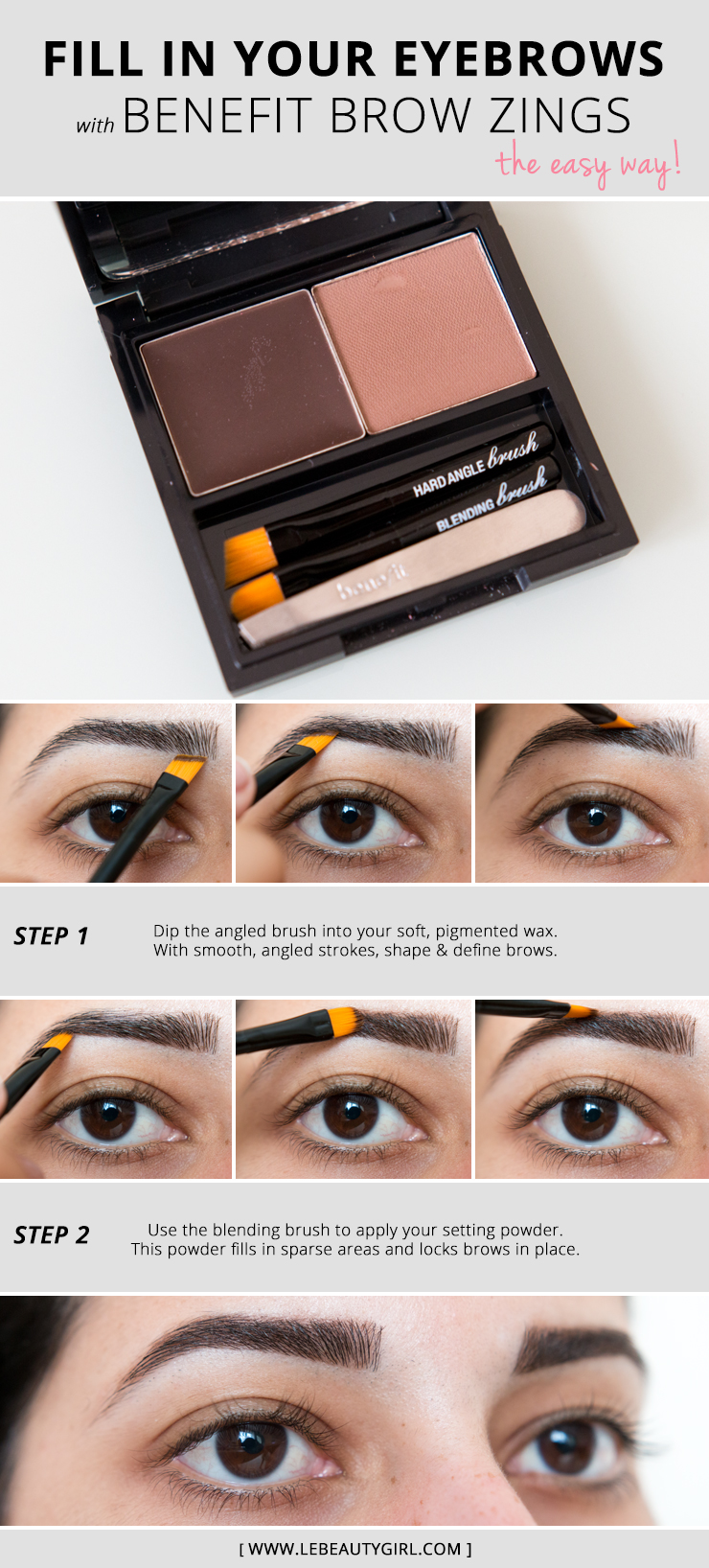 How To Fill In Eyebrows Benefit Brow Zings Brow Shaping Kit Tutorial