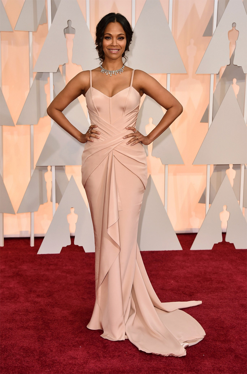 Zoe Saldana Oscars Red Carpet 2015